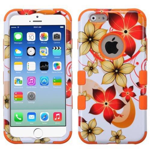 Apple iPhone 6/6S MyBat TUFF Hybrid Phone Protector Cover, Hibiscus Flower Romance/Orange