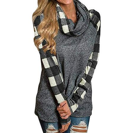 Round Neck Women Sweatshirt (Blouse Womens Tunic Sweatshirt Turtleneck Plaid Shirt Round Neck)