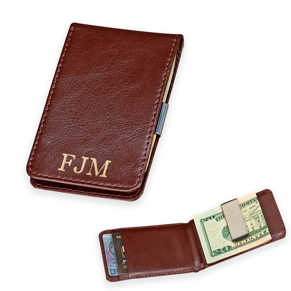 Personalized Monogrammed Brown Leather Folding Case W/Stainless Steel Money Clip