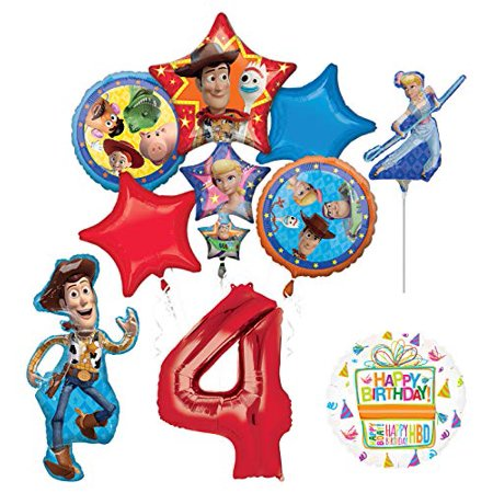 Mayflower Products Toy Story Party Supplies Woody and Friends 4th Birthday Balloon Bouquet Decorations - Woody Birthday Party Supplies