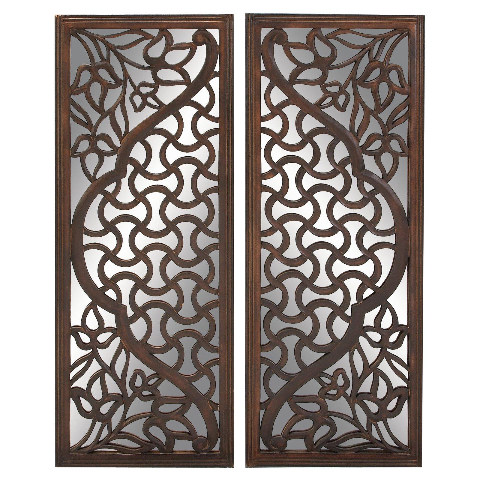 Decmode Wood Mirror Wall Panel, Set of 2, Brown