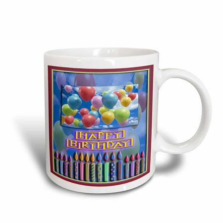 3dRose Balloons and Candles, Happy Birthday, Ceramic Mug, 15-ounce ()