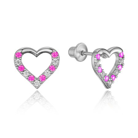 Sterling Silver Rhodium Plated Pink Open Heart Cubic Zirconia Children Screwback Baby Girls Earrings](Kid Earrings)