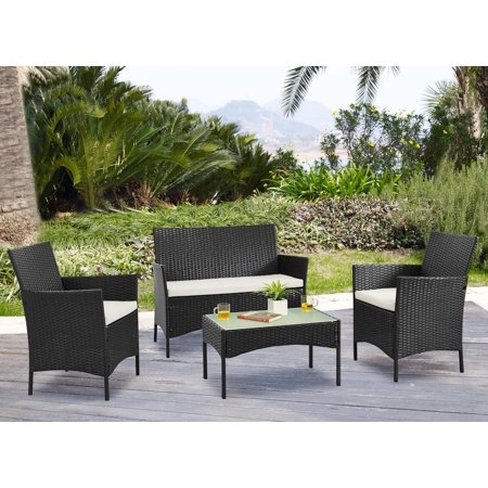 Palm Springs Deluxe 4 Piece Rattan Sofa Set w/ Chairs, Tables & Cushions - Black