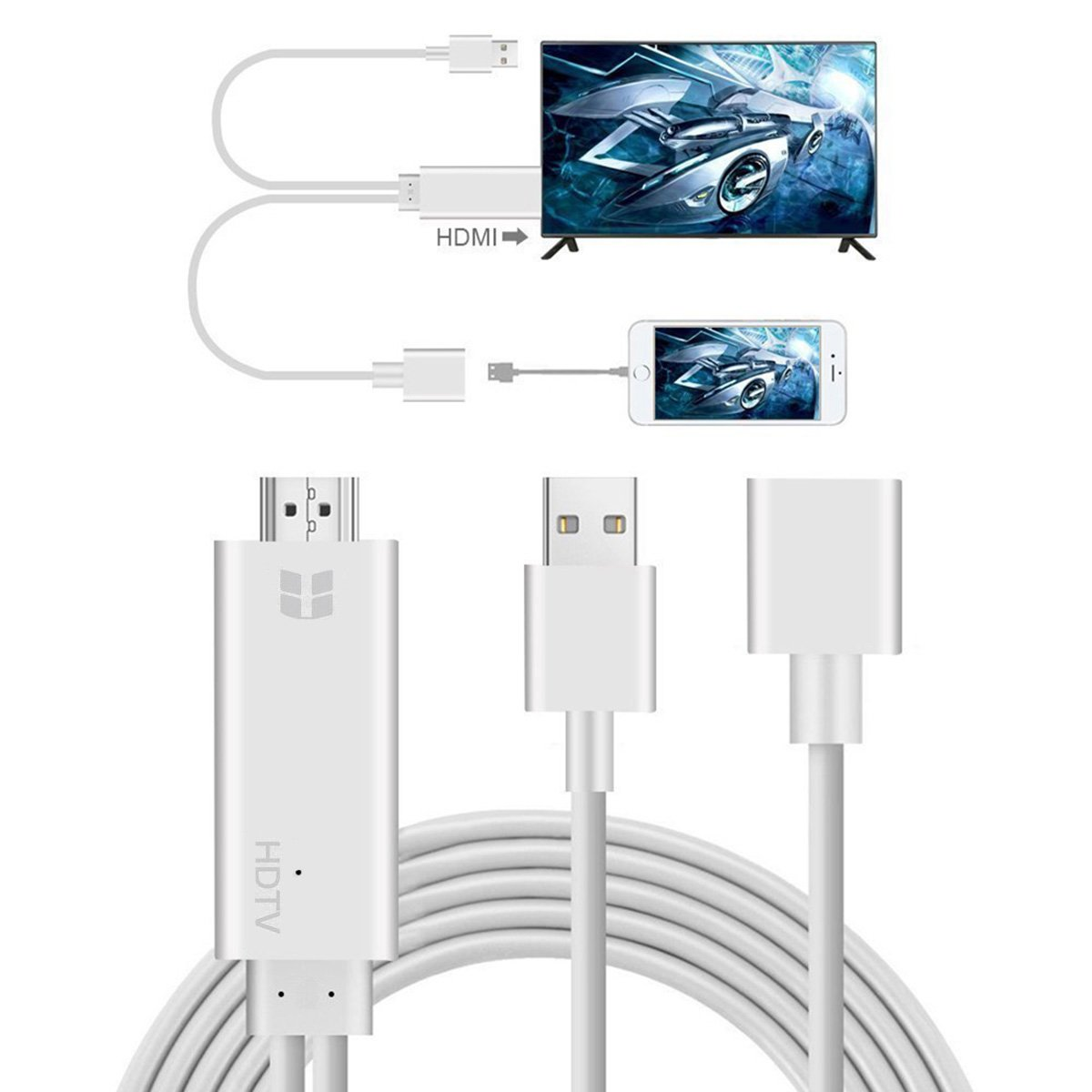 Compatible with iPhone to HDMI Adapter Cable, 3 in 1 HDMI/Micro USB/TYPE C Adapter, 1080P HDTV Cord Converter for iPhone Xs Max XR X 8 7 6 Plus iPad Pro Air Mini iPod - Plug and Play, I4570