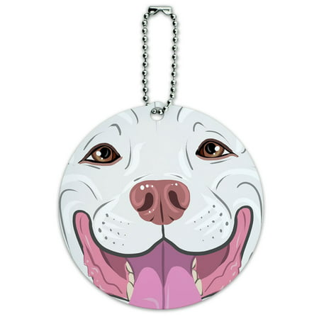 Graphics and More Pit Bull Face White Pet Dog Round ID Card Luggage (Dog Window Graphics)