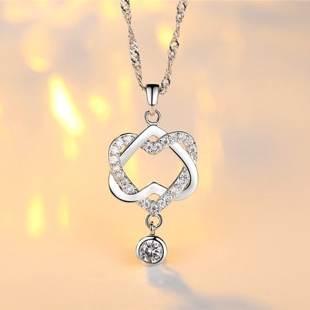 NEW Fashion Women Double Heart Pendant Necklace Chain Jewelry Double Heart Charm Jewelry