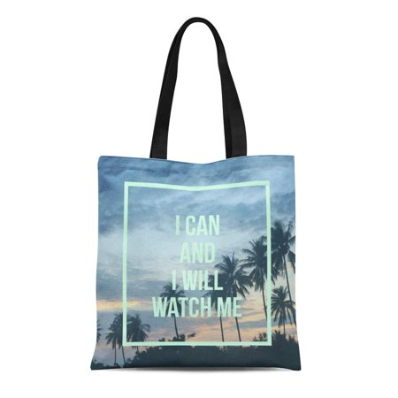 POGLIP Canvas Tote Bag Inspirational Motivational I Can and Will Watch Me Reusable Shoulder Grocery Shopping Bags Handbag - image 1 de 1
