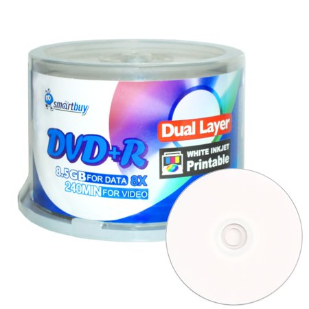 SmartBuy 50 Pack Dvd+r Dl 8.5gb 8x DVD Plus R Double Layer Printable White Inkjet Blank Data Recordable Media 50 Discs Spindle