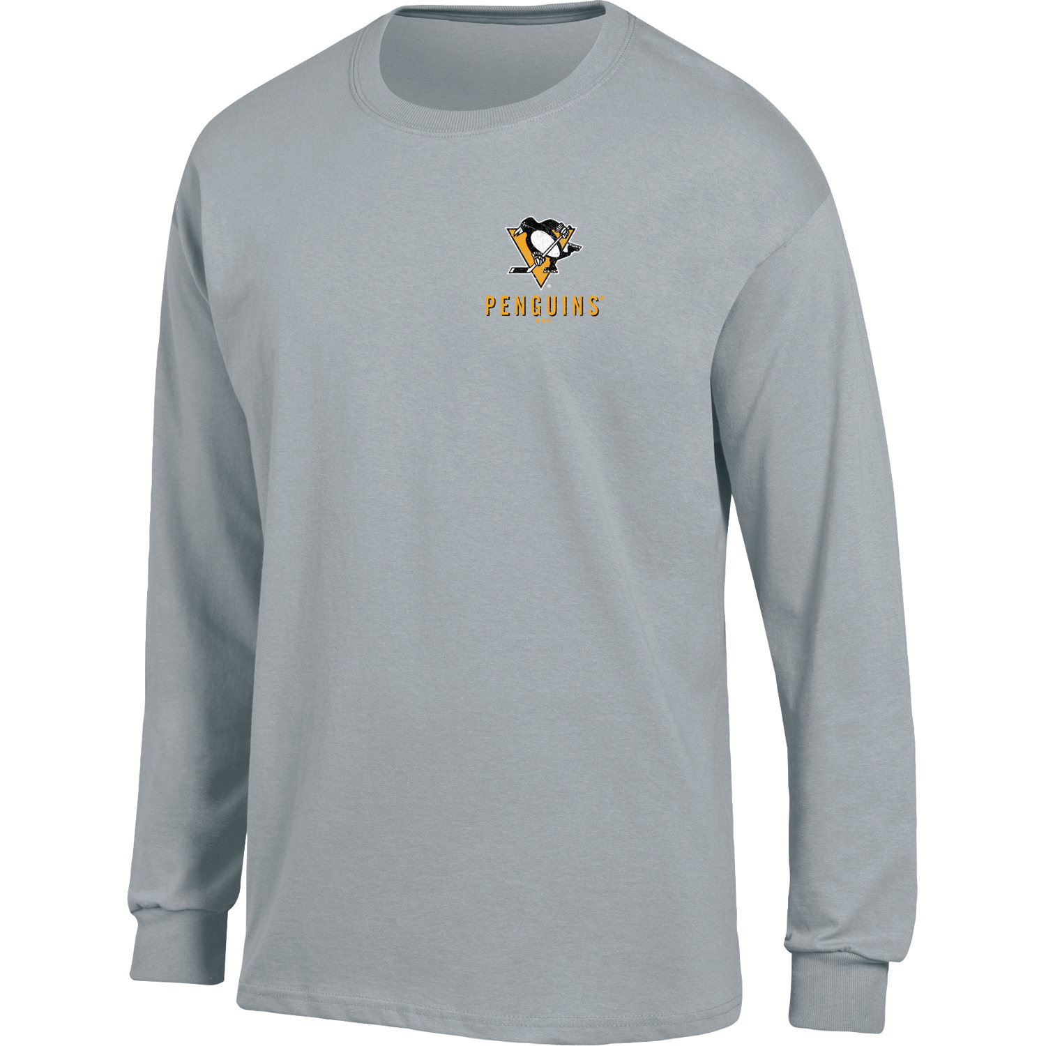 Men's Heathered Gray Pittsburgh Penguins Back Hit Long Sleeve T-Shirt