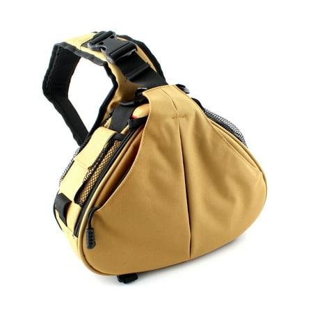 Waterproof Nylon Triangle Messenger Sling Bag For Canon Nikon Digital DSLR Camera Bag, Khaki