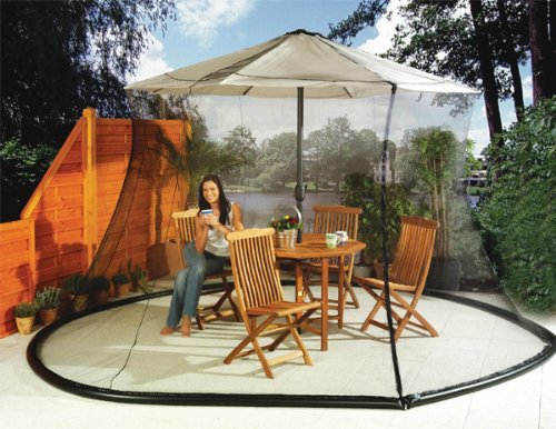 Umbrella Mosquito Net Canopy Patio Set Screen House Black by
