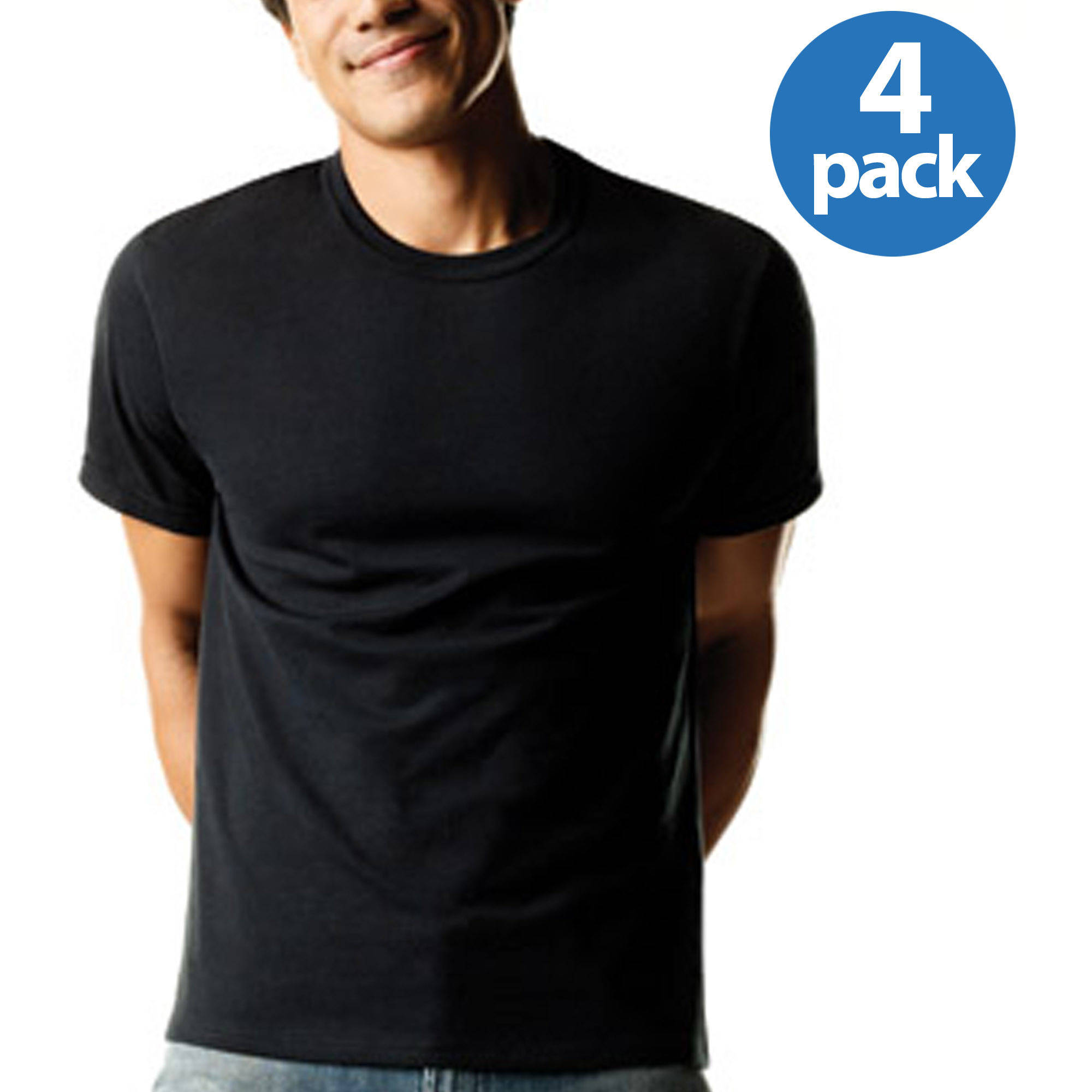 Hanes Men's FreshIQ ComfortSoft Dyed Crew Neck T-Shirts 4-Pack ...