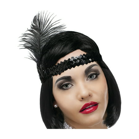 Flapper Costume Accessories (Adult's Black Sequin Roaring 20s Flapper Feather Headband Costume)