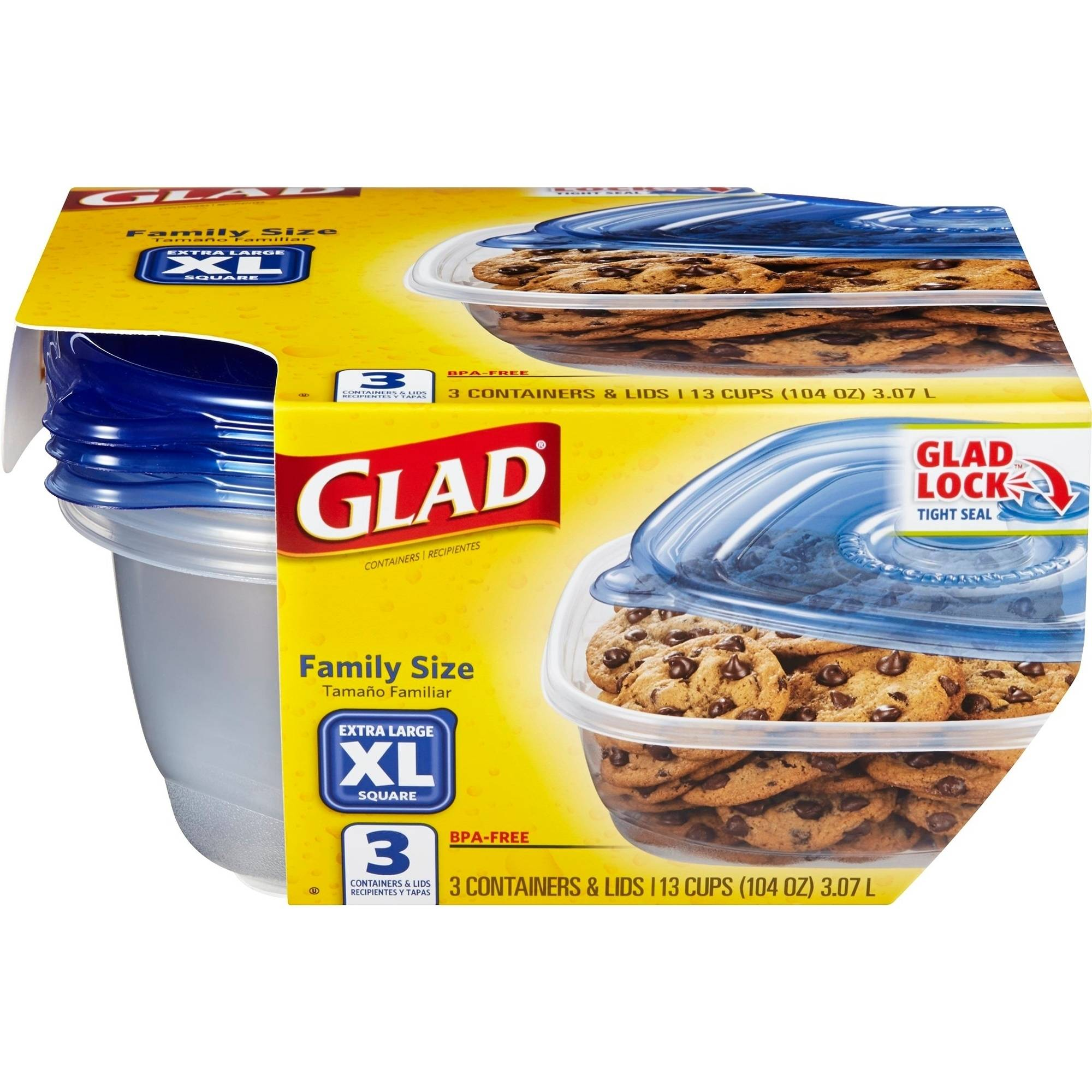 Glad Food Storage Containers, Family Size, 104 Ounce, 3 Count, BPA Free