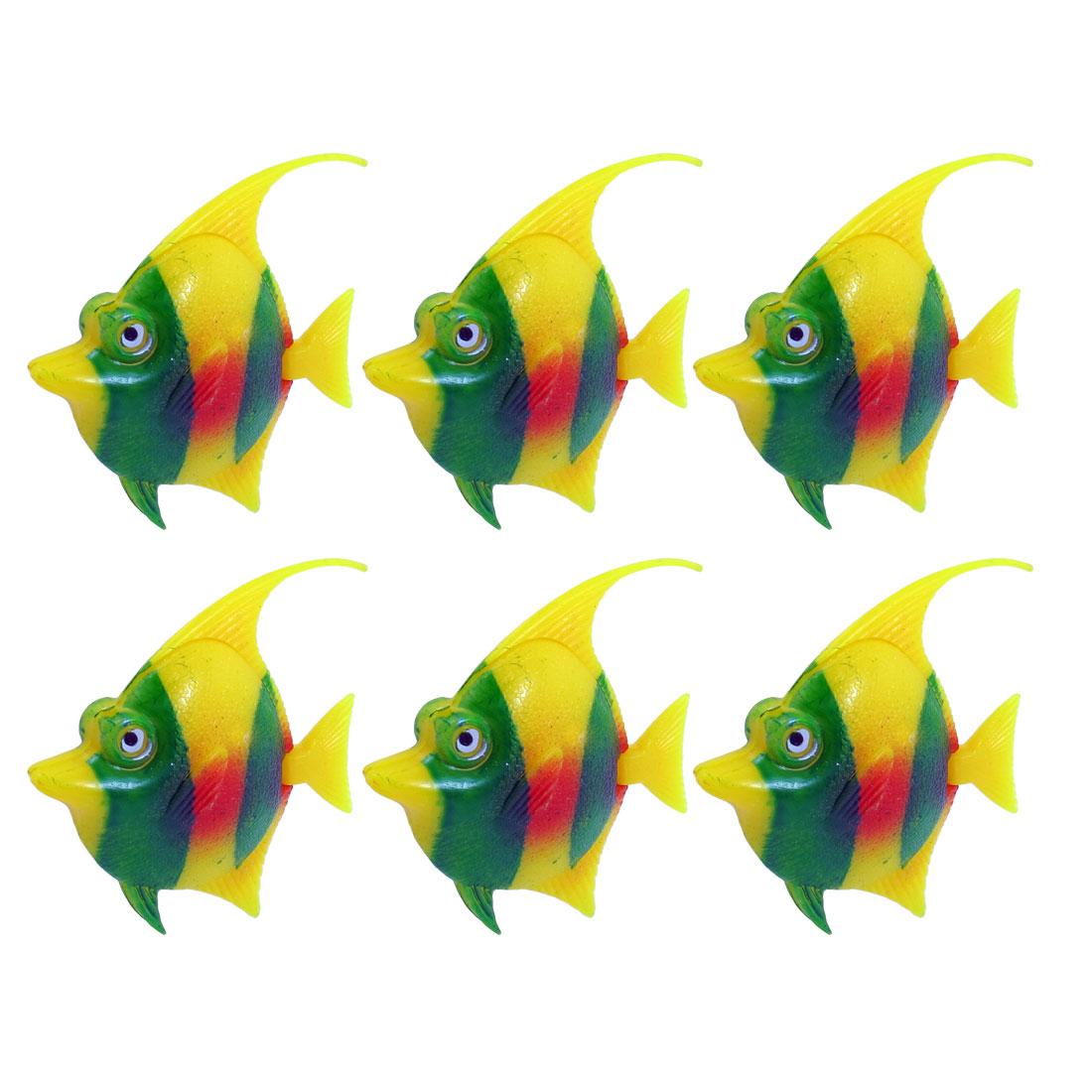 Unique Bargains Aquarium Tank Swing Tails Artificial Plastic Fishes Green Red Yellow 6 Pieces