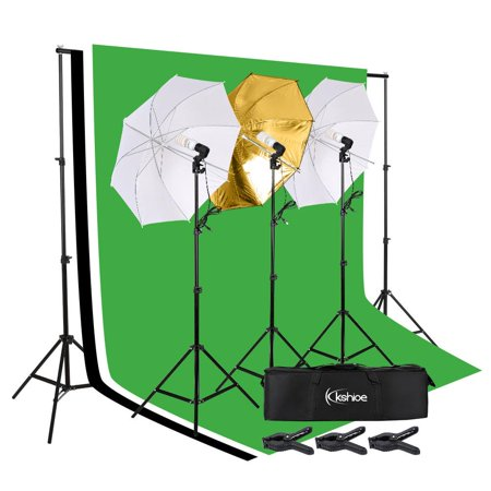 UBesGoo Photo Studio Photography Kit 3 Light Bulb Umbrella Backdrop Stand Set (Studio Umbrella Lights)