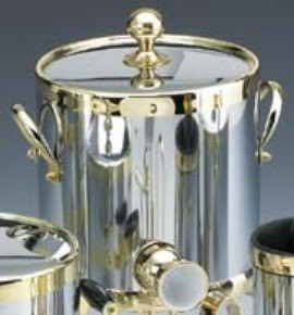 Americano 3 Qt Ice Bucket with Brass Band in Chrome by Kraftware Corp