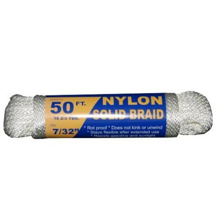 T W   Evans Cordage 44-073 7/32-Inch Solid Braid Nylon Rope 50-Feet Hank