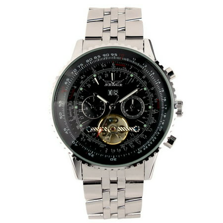 Automatic Mechanical Mens Wrist Watch Black Stainless Steel Case Date Display