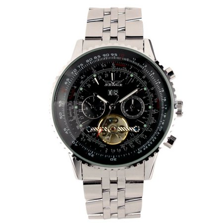 - Automatic Mechanical Mens Wrist Watch Black Stainless Steel Case Date Display
