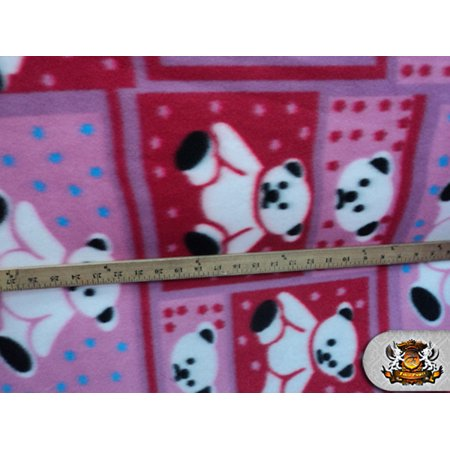 Fleece Fabric Printed *TEDDY BEAR RED* By the Yard N-095