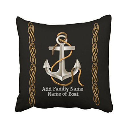 WinHome Square Throw Pillow Covers Nautical Popular Rope Anchor Custom Gift Customizable Pillowcases Polyester 18 X 18 Inch With Hidden Zipper Home Sofa Cushion Decorative Pillowcase (Customizable Gifts)