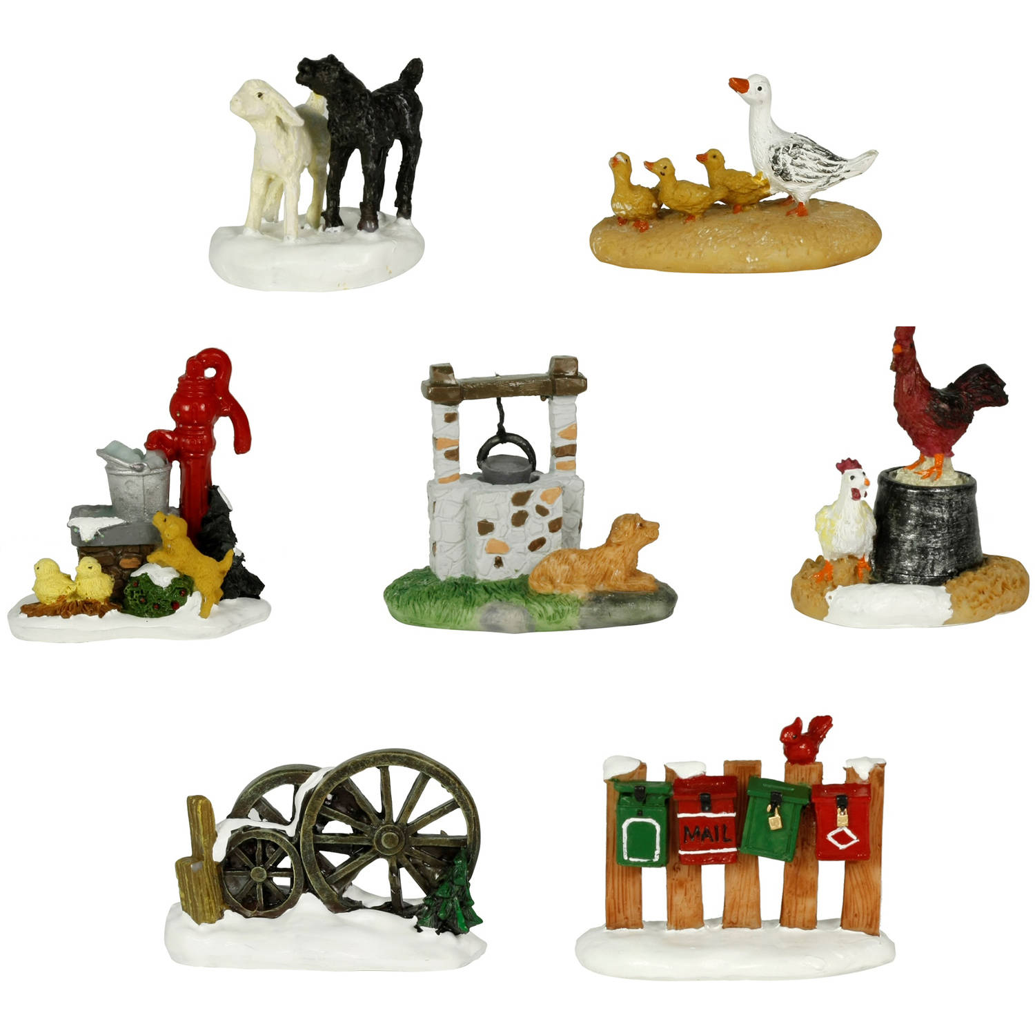 Holiday Time 7-Piece Animal Set Christmas Village