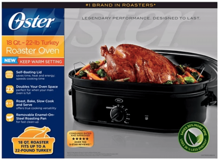 NEW Oster 18 Quart Roaster Oven with Self Basting Lid Black