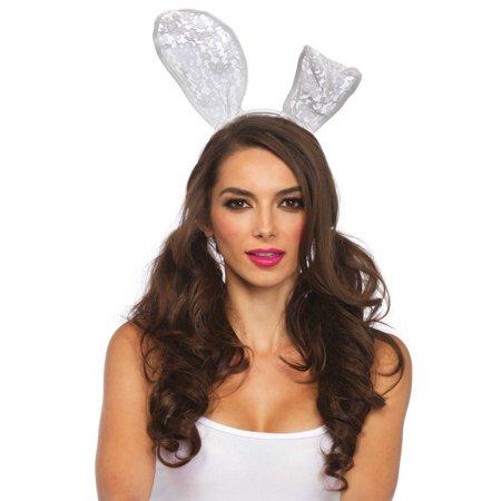 Leg Avenue  White Lace Large Bunny Ears Headband