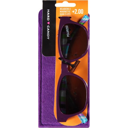 Hard Candy Readers with Magnetic Sun Clips, Purple Rules -- Dark Purple, 3 count