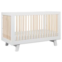 Babyletto Hudson 3-in-1 Convertible Crib with Toddler bed Conversion Kit in White & Washed Natural