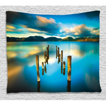 Scenery House Decor Tapestry, Surreal Landscape with Wood Deck and Clouds in Sky Coastal Charm, Wall Hanging for Bedroom Living Room Dorm Decor, 60W X 40L Inches, Turquoise White, by