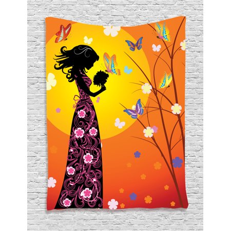 Teen Girl Room Decor Tapestry Wall Hanging Flowers Butterflies and ...