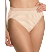 Womens Comfort Revolution Seamless Hi Cut Panty 7-Jun Soft Taupe Stripe