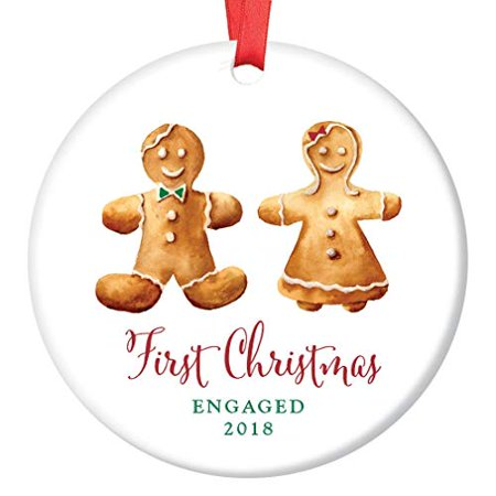 1st Christmas Engaged Couple 2019 Ornament Adorable Gingerbread Man & Lady Ceramic Collectible First Holiday Season Engagement Present 3