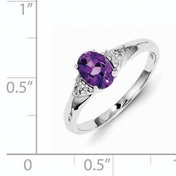 925 Sterling Silver Rhodium Plated Diamond and Amethyst Ring - image 1 of 2