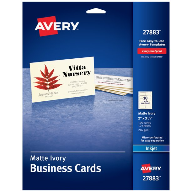 Avery Printable Business Cards Matte Ivory Two Sided Printing 100 Cards 2 X 3 1 2 27883 Walmart Com Walmart Com