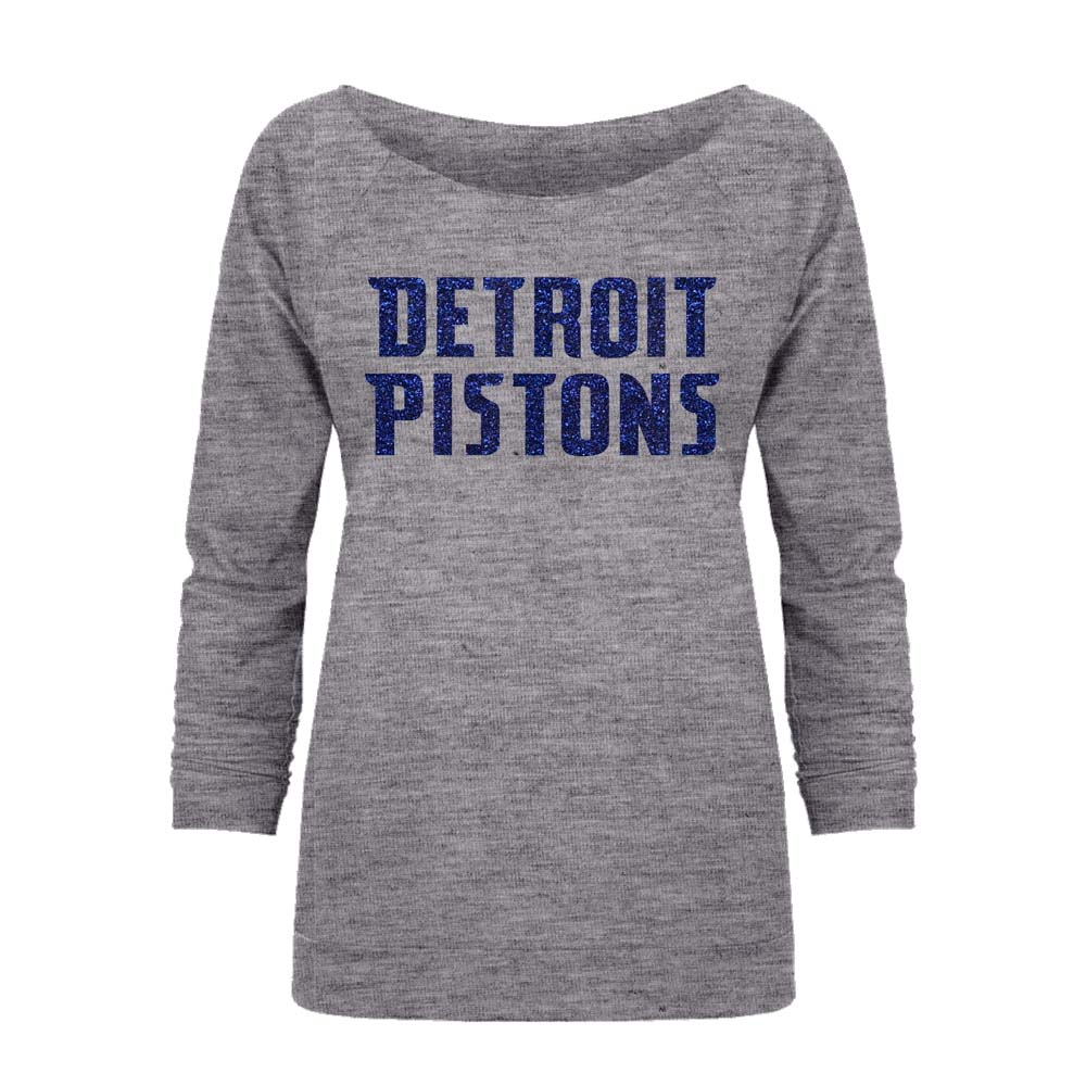 Detroit Pistons Off the Shoulder Long Sleeve Pullover Fleece - Gray