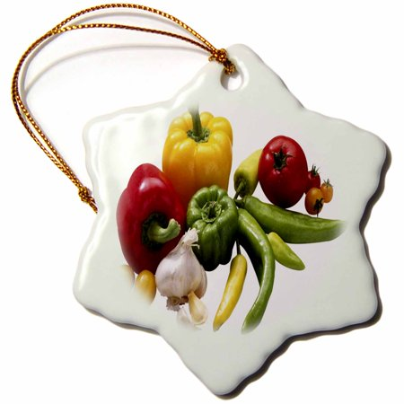 3dRose Peppers and Garlic - Snowflake Ornament, 3-inch