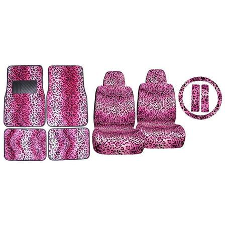Back Seat Floor Mats - 11pc Pink Leopard Safari Low Back Seat Cover Shoulder Pads and Carpet Floor Mats