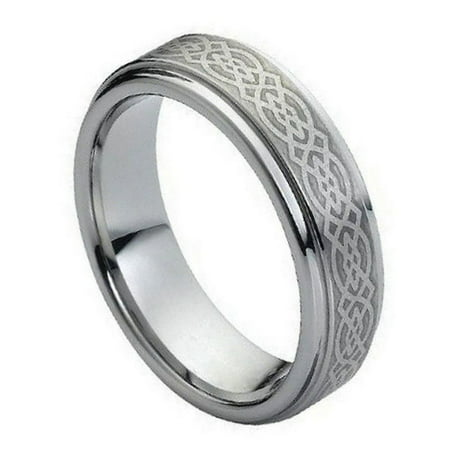Tungsten Brushed Celtic Pattern Center 7MM Stepped Edge Ring Size 7.5