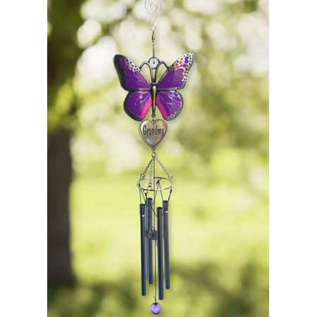 Grandma Windchime - Purple Butterfly Wind Chime Design with Engraved Grandmother Heart - Garden