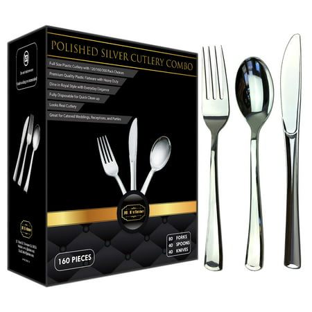JL Prime 160 Silver Plastic Silverware Set, Silver Plastic Cutlery Set Heavy Duty Utensils for Party & Wedding, Disposable Silver Flatware, 80 Plastic Forks, 40 Plastic Spoons & 40 Plastic Knives Sterling Silver Silverware