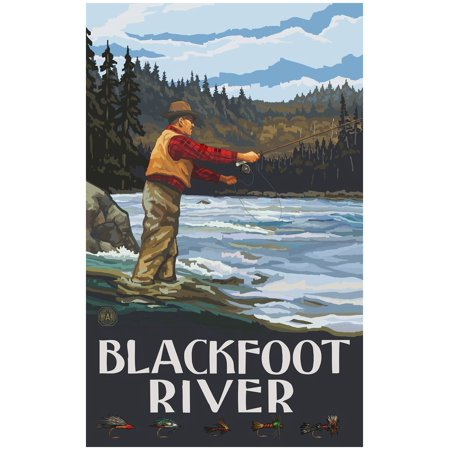 UPC 682370997243 product image for Blackfoot River Montana Fly Fisherman Stream Hills Travel Art Print Poster by Pa | upcitemdb.com