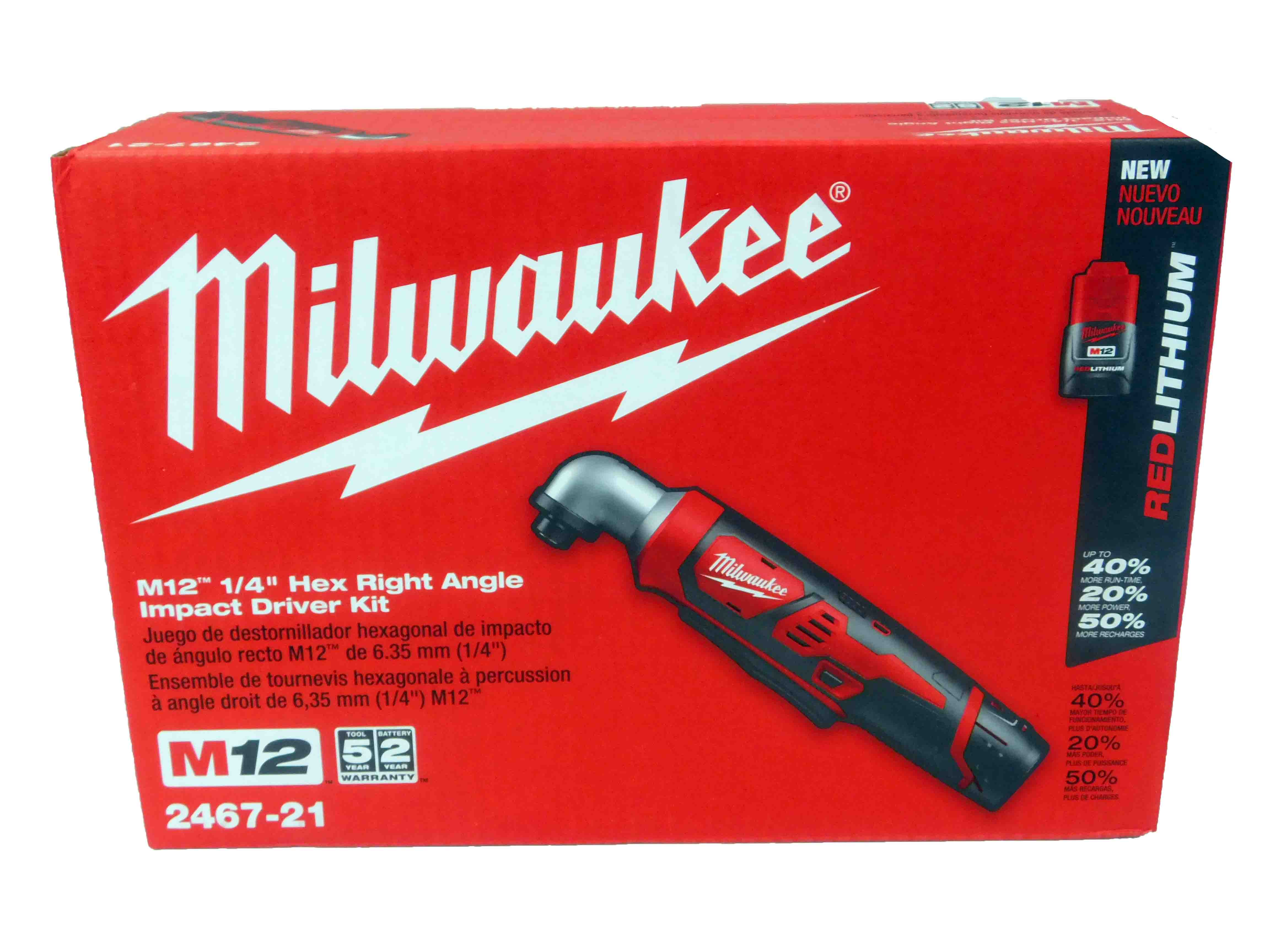 "2467-21 M12 1 4"" Cordless Right Angle Impact Driver Wrench Kit by Milwaukee"