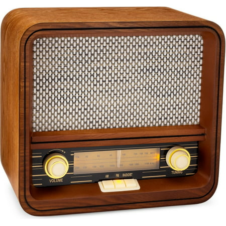 ClearClick Classic Vintage Retro Style AM/FM Radio Bluetooth & Aux-in - Handmade Wooden Exterior ()