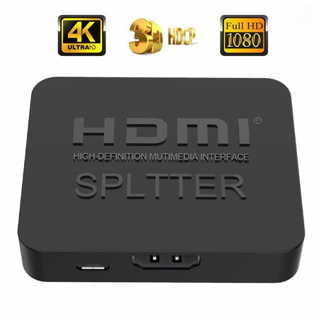 - HDMI Splitter 1 In 2 Out, 4K HDMI Splitter HDMI Switcher Mini 1x2 Port HDMI Splitter Support 4K 3D Full Ultra HD 1080P for TV DVD PS3/4 Xbox Monitor Blu ray (1 Source onto 2 Display Simultaneously)