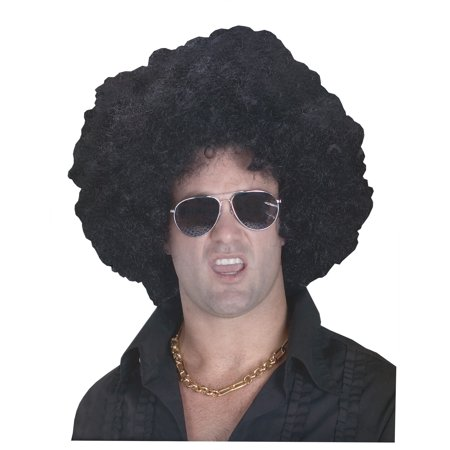 High Black Afro Wig Adult Halloween - Black Pink Wig