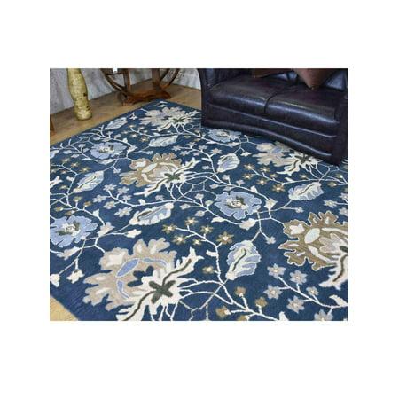 Rugsotic Carpets Hand Tufted Wool 8'x10' Area Rug Floral Blue K00522 Blue Floral Wool Rug